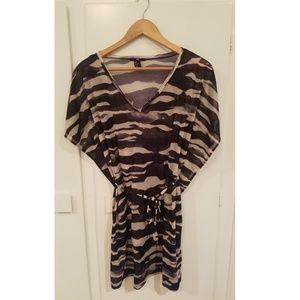 H&M Black and White Zebra Swim Suit Cover up
